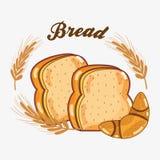 Pan tajado y corissant deliciosos de trigo ilustración del vector