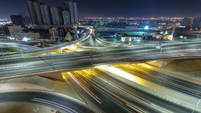 Cityscape of Ajman from rooftop at night timelapse. Ajman is the capital of the emirate of Ajman in the United Arab Emirates. Pan and tilt Cityscape of Ajman stock photos