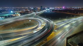 Cityscape of Ajman from rooftop at night timelapse. Ajman is the capital of the emirate of Ajman in the United Arab Emirates. Pan and tilt Cityscape of Ajman royalty free stock photo