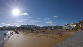 Pan timelapse Albufeira fishermen beach, Algarve, Portugal (A) stock video footage