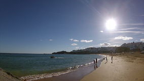 Pan timelapse Albufeira fishermen beach, Algarve, Portugal (B) stock video