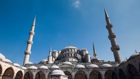 Pan timelapse of The Blue Mosque or Sultanahmet outdoors in Istanbul in Turkey stock footage