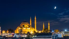 Pan timelapse of famous Suleymaniye mosque in Istanbul at night stock video