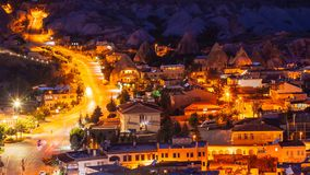 Pan timelapse view of Goreme village with beautiful sky in Cappadocia at night in Turkey stock video footage
