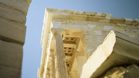 Propylaea eastern Facade in central Athens - tilt-shift. Pan to the magical columns of Propylaea eastern Facade in central Athens - tilt-shift lens used bokeh stock video