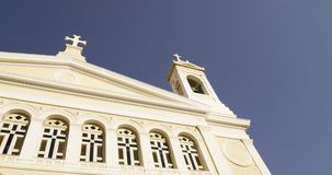 Pan to Orthodox Greek Church in central Athens stock footage