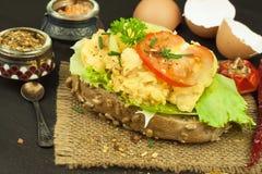 Pan tostado con los huevos revueltos Imagen de archivo