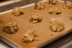 Pan of Uncooked Prepared Oatmeal Chocolate Chip Cookie Stock Photo