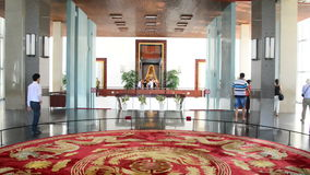 Pan Up  - Lobby Area - Independence Palace - Ho Chi Minh City Vietnam. Former President Ngo Dinh Diem Residence during the Vietnam War stock video