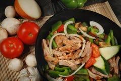 Pan van de kip en de groente Stock Foto