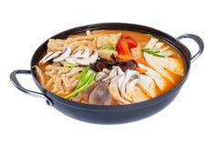 Pan van Koreaanse soep met geïsoleerde kimchi, bollen, rundvlees en groenten stock foto