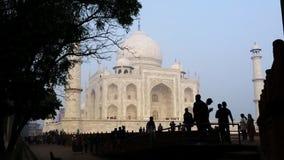 Pan van toeristen in Taj Mahal, Agra, Uttar Pradesh, India wordt geschoten dat stock footage