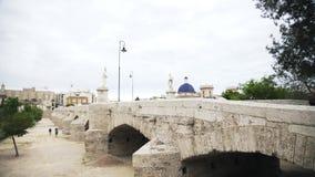 Pan van Valencia, cityscape van Spanje wordt geschoten dat stock videobeelden