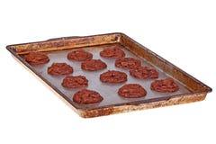Pan van vers gebakken, eigengemaakte chocoladekoekjes Stock Foto