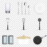 Pan vector kitchenware or cookware for cooking food with kitchen utensil cutlery and plate illustration set of dishware. And frying-pan or pot  on transparent royalty free illustration
