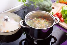 Pan of vegetable soup in the cooker Stock Images