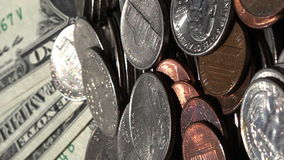Pan view on dolars and cents,side Royalty Free Stock Photos