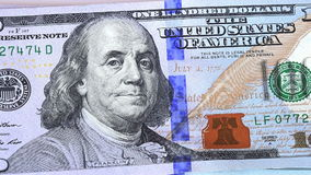 Pan view on a 100 dollar new bills stock video footage