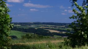 Pan view of European landscape in the summer time. Mountain landscape stock footage