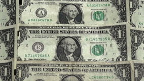 Pan view on one dollar bills. Pan view over bills of one dollar stock footage
