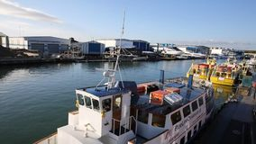 PAN view Poole harbour Dorset England UK with boats stock footage