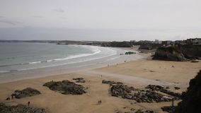 PAN view of Towan beach Newquay North Cornwall England UK stock video