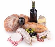 Pan, vino, queso y salchicha Fotos de archivo