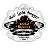 Pan voor was met goud Van letters voorziend beste gouden goudklompje Royalty-vrije Stock Afbeelding