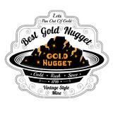 Pan for washing with gold. Lettering best gold nugget Royalty Free Stock Image