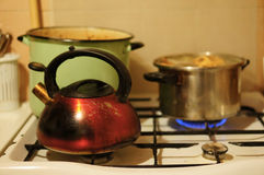 Pan and water boiler Stock Photography