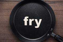 Pan with word fry Royalty Free Stock Photo