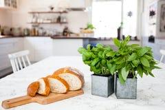 Pan y albahaca fresca en la tabla de cocina con el fondo unfocused de la cocina Fotos de archivo libres de regalías