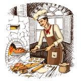 Pan y bollo o cruasán dulce jefe o cocinero culinario libre illustration