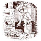 Pan y bollo o cruasán dulce jefe o cocinero culinario horno caliente del ladrillo ilustración del vector