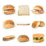 Pan y collage de los bocadillos Imagen de archivo