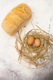 Pan y huevos Imagen de archivo libre de regalías