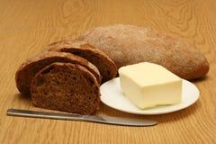 Pan y mantequilla fotos de archivo libres de regalías