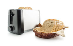 Pan y tostadora de la tostada Foto de archivo libre de regalías
