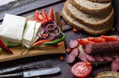 Pan y verduras del queso de las salchichas Fotografía de archivo