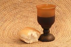 Pan y vino Imagen de archivo libre de regalías