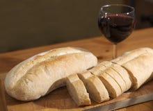 Pan y vino Fotografía de archivo