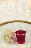 Pan y vino de la comunión en la placa Imagen de archivo libre de regalías