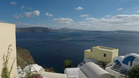 Pan zoom of santorini island stock video footage