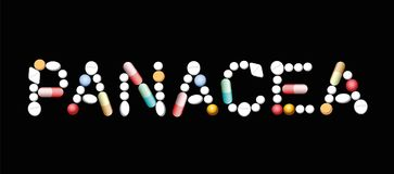 Panacea Miracle Cure Pills. PANACEA written with pills and capsules, symbolic for magic pills, promise of miracle cure and assured health. Isolated vector Stock Photography