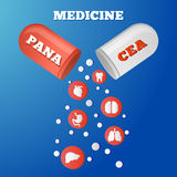 Panacea. Red white pill that cures all diseases Stock Photography
