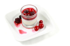 Panacota and wild berry trifle. Dessert food named panacota and wild berry trifle stock photo