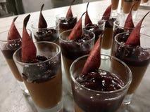 Panacotta κερασιών σοκολάτας Στοκ Εικόνες
