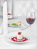 Panacotta dessert with ripe raspberries, Stock Photo