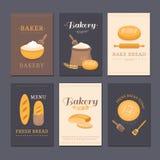 Panadería de la tienda de tarjetas del vector Fotos de archivo libres de regalías