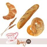 Panadería dibujada mano de la acuarela del vector fijada con Imagen de archivo libre de regalías